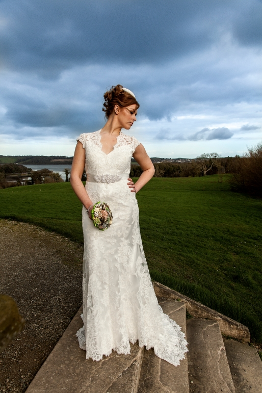 Lace Bridal Gown Veronica Natalie Abuscow Nuala Campbell Castle Ward Gillian Douglas Rea Button Detail Satin Layer