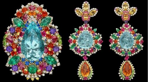 'Dentelle Chantilly Multicolore' Ring and Earrings