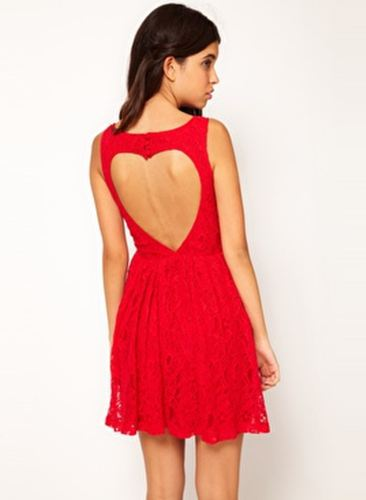 Rare Lace Skater Dress With Heart Cut Out Back £19.50 ASOS.com
