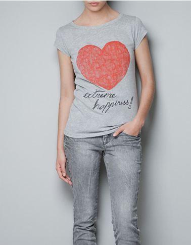 Heart Print T-Shirt £3.99 ZARA.com