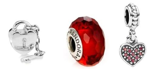 Pandora Red Faceted Murano Glass Charm - £35.00 Pandora silver heart and lock key charm bead - £30 Red Pave heart pendant charm - £35.00 Pandora.net