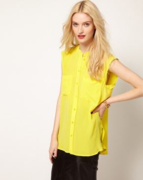 Asos.com Equipment Skylar Sleeveless Shirt in Silk with Raw Edging £217.00 NOW £173.50