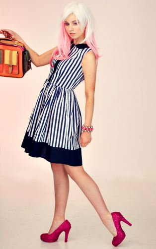 1950s stripe Panel Dress  www.nor-lisa.com  £99.00