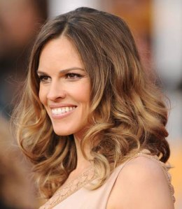 Hilary Swank Ombre Dip Dye Colour