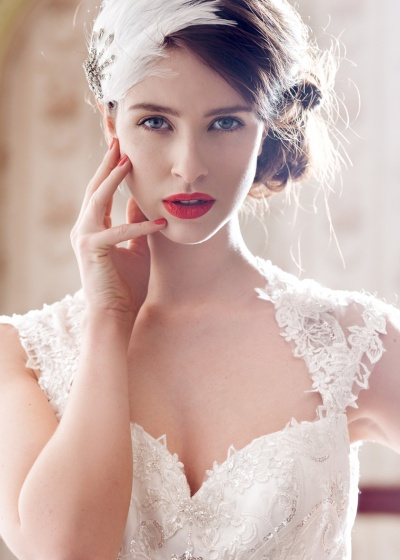 1920, gatsby, wedding, bridal, gown, dress, sleeves, headpiece