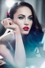 Megan fox red lips valentines day makeup beauty blue red liptstick