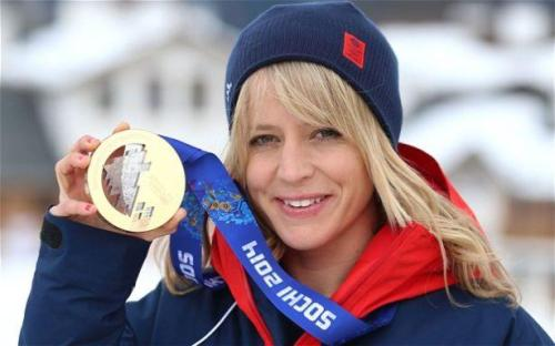 Jenny Jones winning Bronze at Sochi 2014.