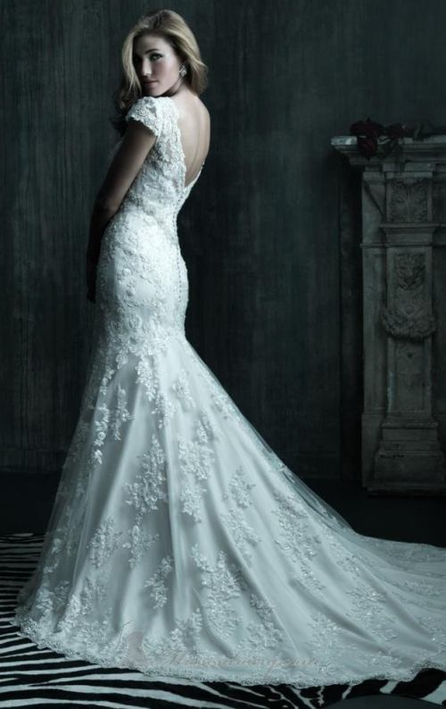 Allure-Bridals-C207-Wedding-Dresses_2 (1), DOTM, beaded lace fishtail gown , Dress of the month, capped sleeves, Swarovski crystals , gold, rosa, cathedral gowns, downpatrick, northern ireland