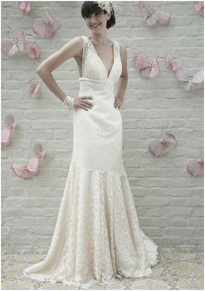 Charlotte Balbier 'Tabitha' fitted lace gown with beautiful beadwork and a V neckline.