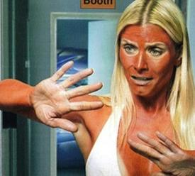 Bad tan. Tanning disaster! Wrong tan shade.
