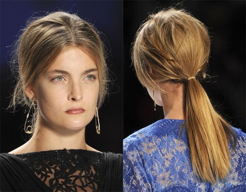 Low ponytail with volume