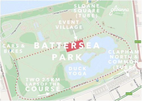 Gloanna Fun Run Map, Battersea Park